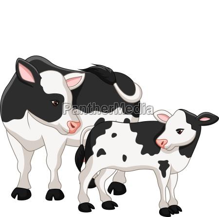 niedliche kuhmutter mit babykalb
