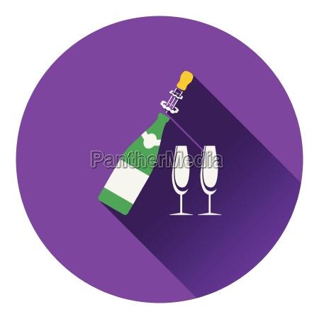 party champagner und glas ikone