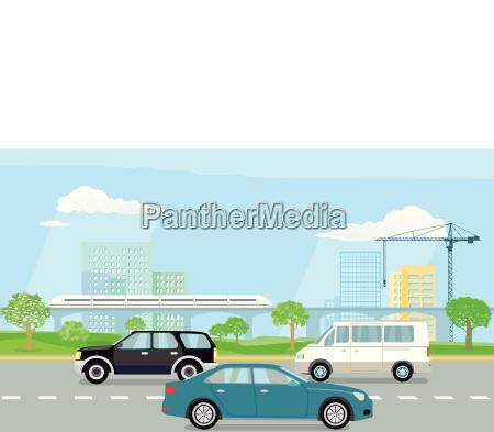 schnellstrasse in der stadt illustration
