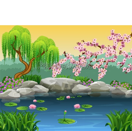 illustration of beautiful river background