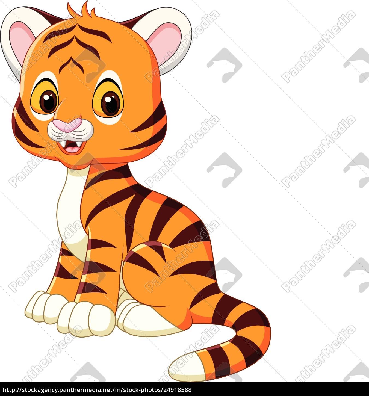Lizenzfreie Vektorgrafik 24918588 Niedlicher Baby Tiger Sitzt Isoliert Auf Weißem Hintergrund