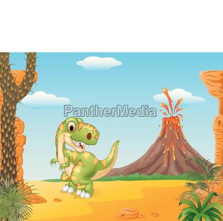 cartoon happy tyrannosaurus dinosaur in the