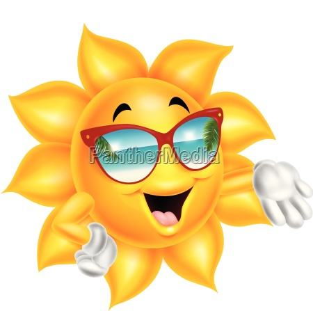 tragende sonnenbrille des karikaturkarikatursonnencharakters