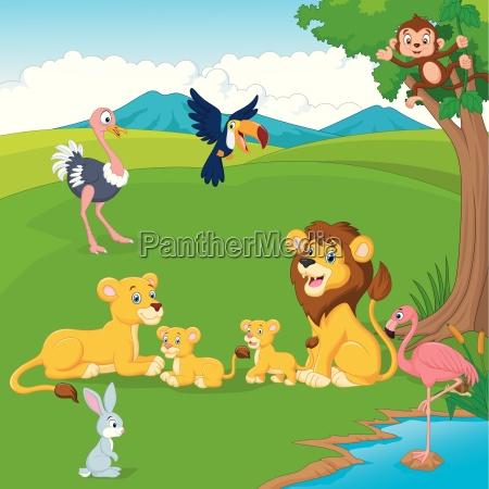 cartoon loewen familie im dschungel