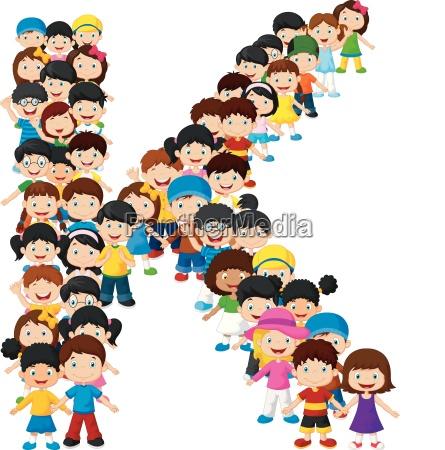kleine kinder bilden alphabet k