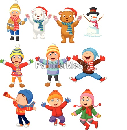 kleine kinder tragen winterkleidung