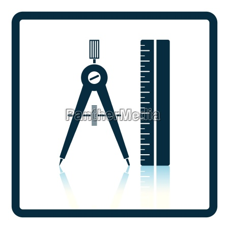 flat design icon of compasses and