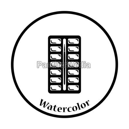 watercolor paint box icon