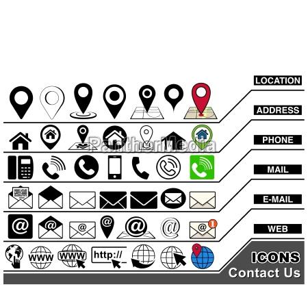 kontaktieren sie uns icons collection