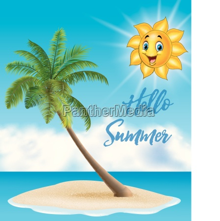 summer background with tropical island and