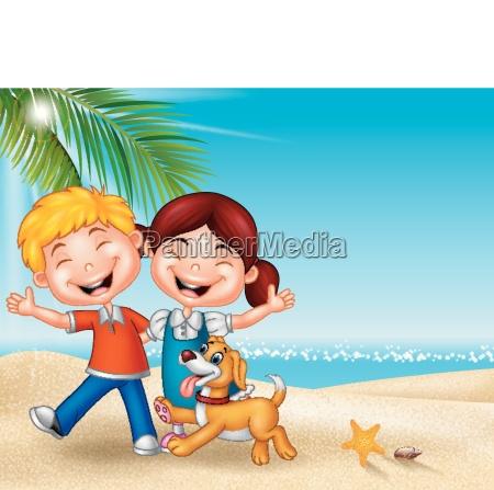 cartoon happy kids on the beach