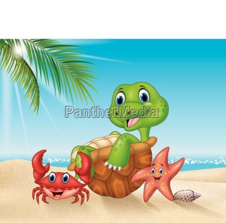 cartoon meerestiere entspannen am strand