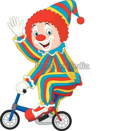 cartoon clown reitet fahrrad