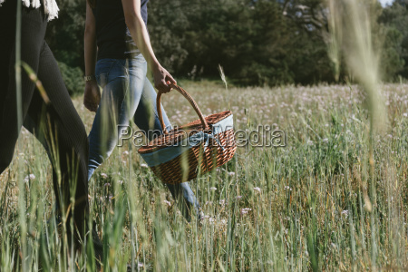 low section of woman carrying picnic