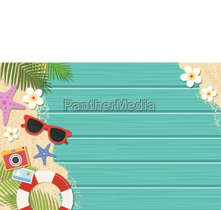 summer background top view with sunglasses