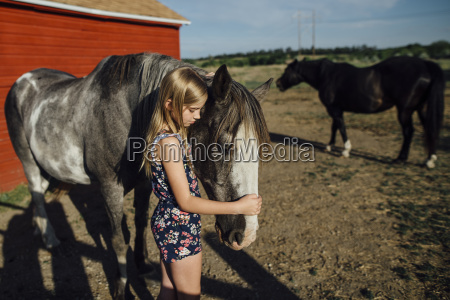 side view of girl stroking horse