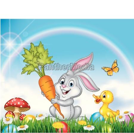fruehling natur hintergrund mit kaninchen und