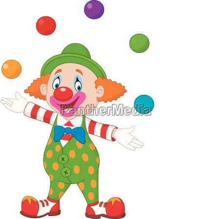 froehliches clown jonglieren mit bunten baellen