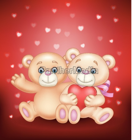 cartoon romantisches paar teddybaeren