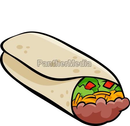 mexican burrito tortilla cartoon illustration
