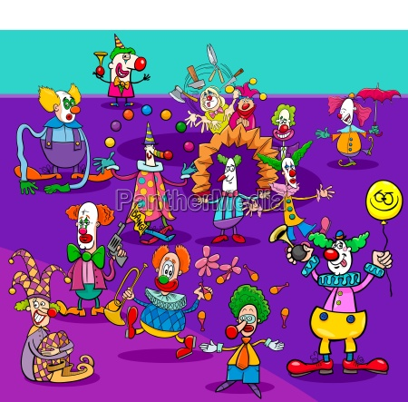 funny circus clowns cartoon characters group
