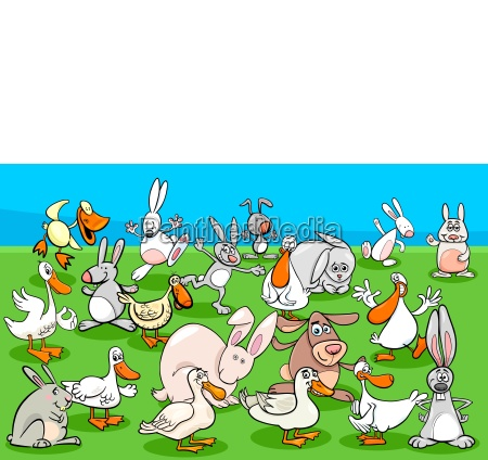 ducks and rabbits farm animal characters