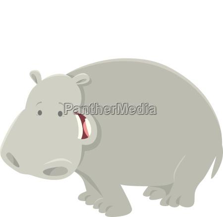 funny cartoon hippopotamus animal character