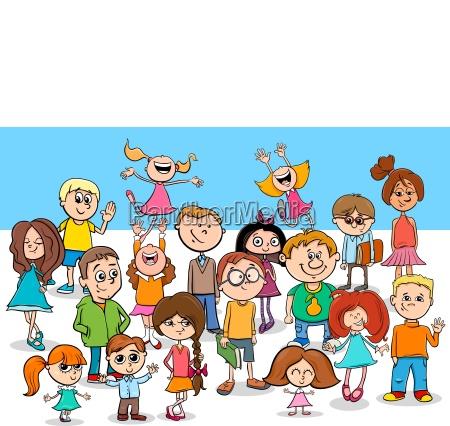 kid boys and girls cartoon characters