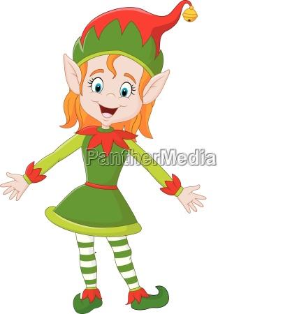 karikatur gluecklich weihnachtself