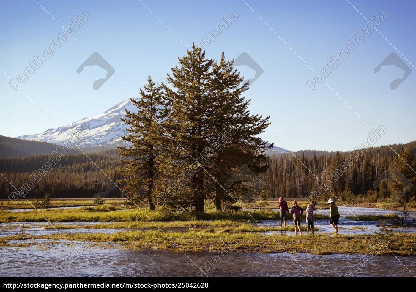 leute, die, im, see, durch, bäume, gegen - 25042628