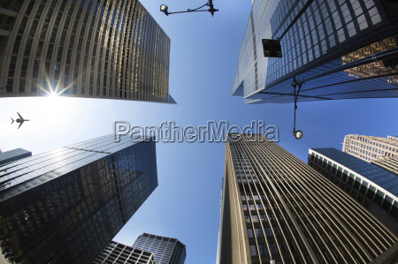 low angle view from urban street