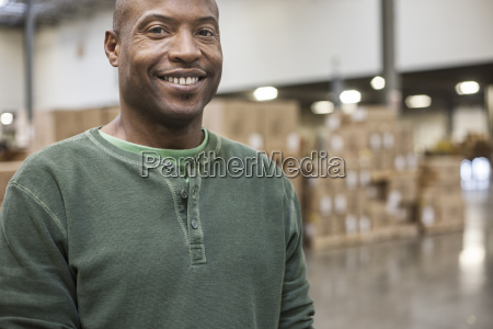 portrait of an african american warehouse