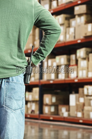 closeup of a warehouse worker and