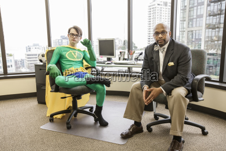 caucasian man office super hero with