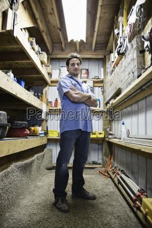 caucasian man employee standing in the