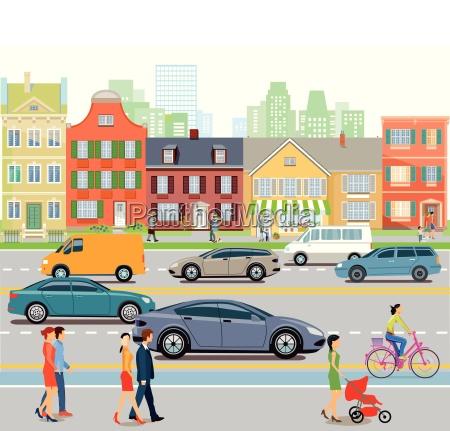 stadt mit autoverkehr und fussgaenger illustration