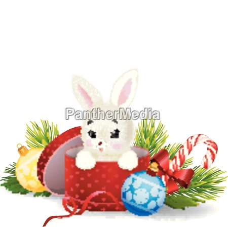 cartoon kaninchen in einer weihnachtsgeschenkbox