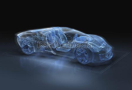 computererzeugtes bild des blaus luxussportauto