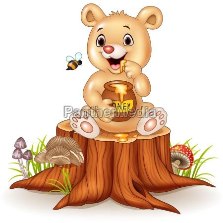cartoon funny baby bear holding honey