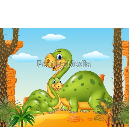 glueckliche mutter mit baby dinosaurier in
