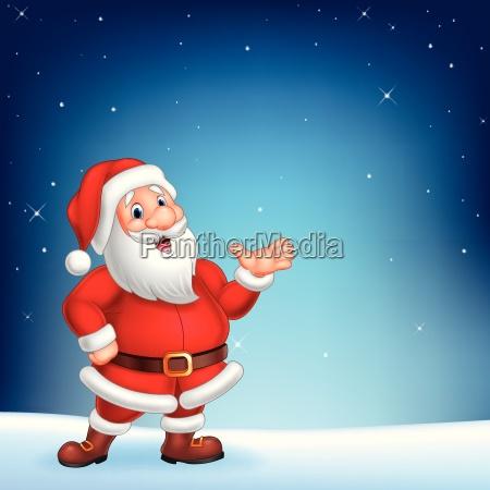 netter weihnachtsmann praesentiert sich auf einem