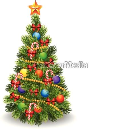 illustration des geschmueckten weihnachtsbaumes isoliert auf