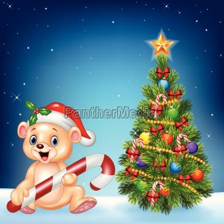 cartoon gluecklicher baer mit weihnachtsbaum auf