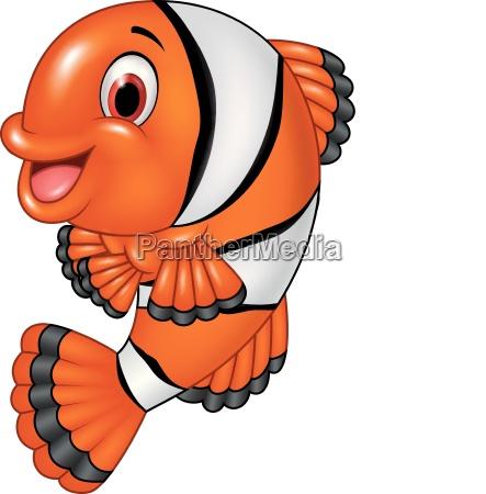 cartoon funny clown fish posing isolated