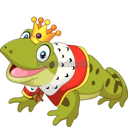 cartoon lustige froschkoenig isoliert auf weissem