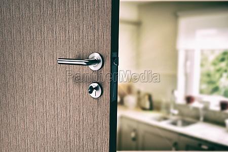 composite image of closeup of door