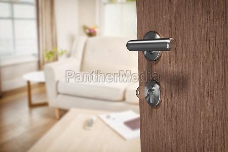 composite image of brown door with