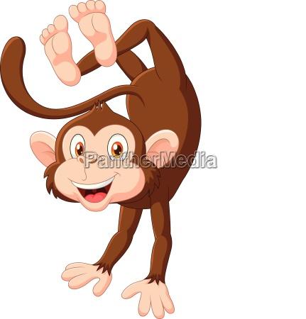 cartoon happy monkey dancing isolated on