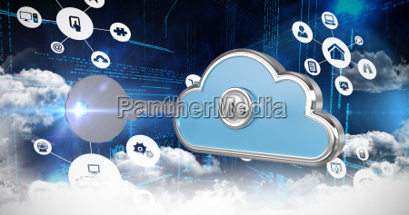 composite image of cloud computing icons