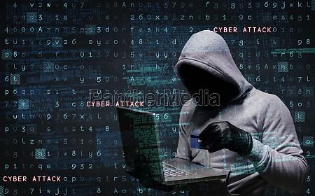 zusammengesetztes bild des hackers mit laptop